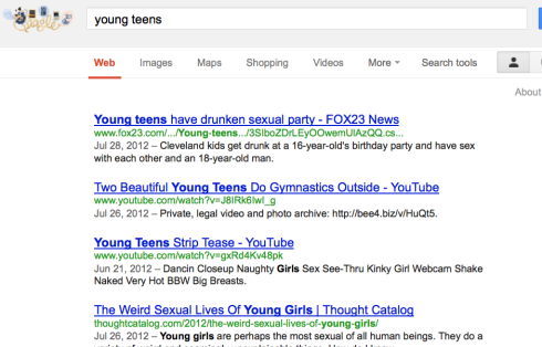 Google Search: young teens